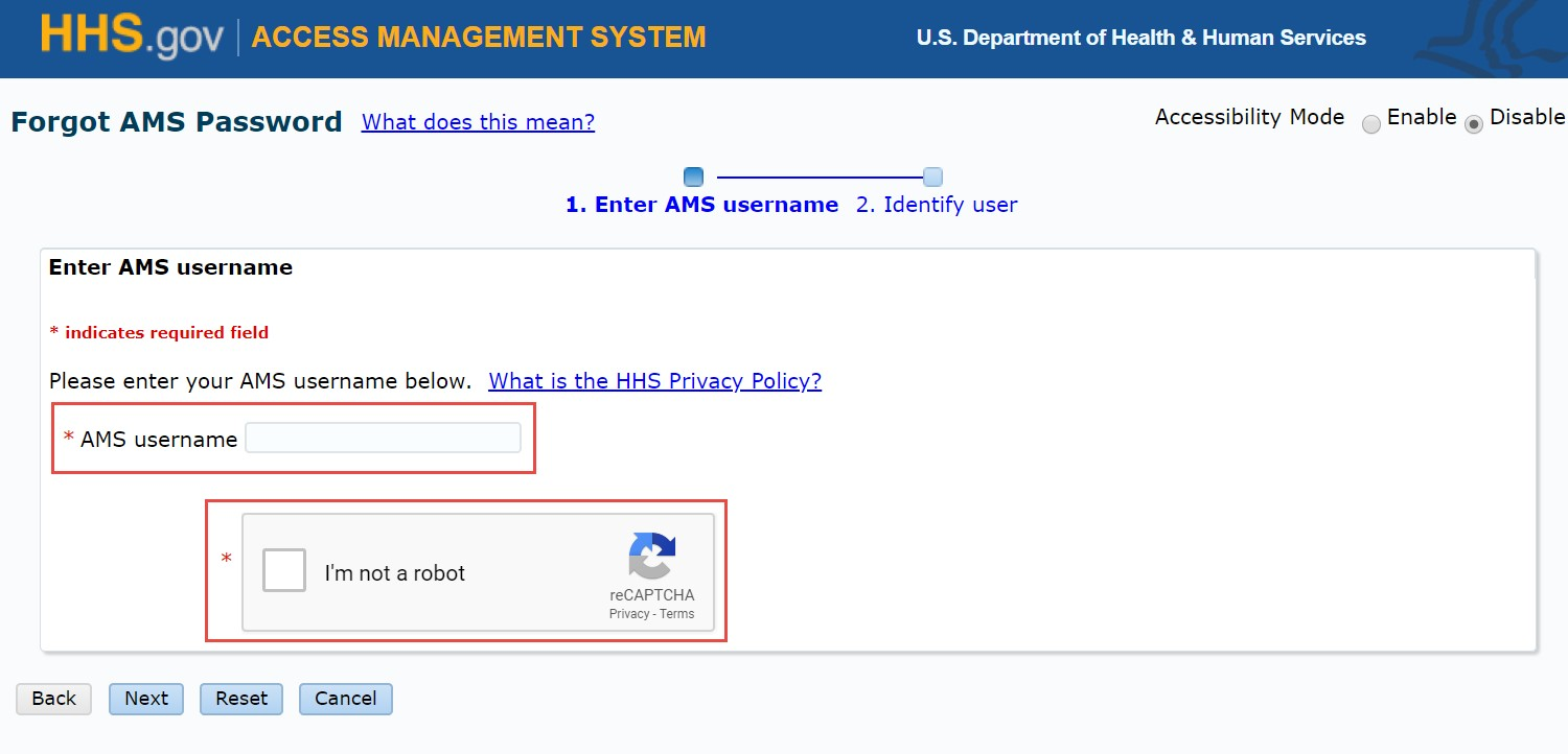 HHS AMS - How to Reset Your AMS Password
