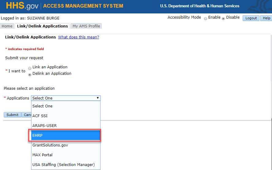Hhs Ams How To Link Or Delink Ehrp