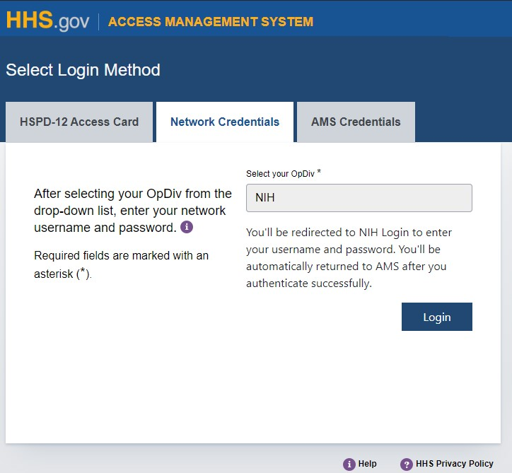 Hhs ams how to log into ams with your nih credentials network credentials nih login xflitez Image collections