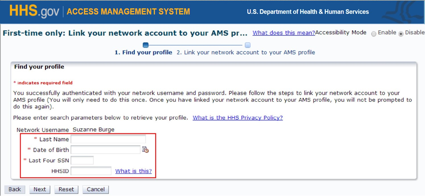 HHS AMS - How To Log into AMS With Your Network Username And